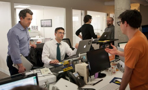 Jim Bankoff, left, and Ezra Klein in Vox's Washington office