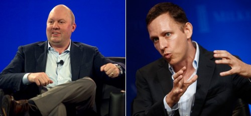 Marc Andreessen (on left) and Peter Thiel
